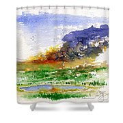 Fire On The Pond Shower Curtain