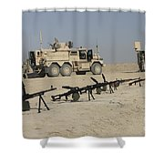 Firearms Sit Ready On A Firing Range Shower Curtain