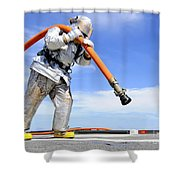 Firefighter Carries A Charged Hose Shower Curtain