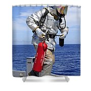 Firefighter Carries A Co2 Fire Shower Curtain
