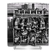 Fireman - Jackets Helmets And Boots Shower Curtain