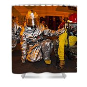 Firemen Brace For Shock Shower Curtain