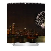 Fireworks Against Chicago Skyline Shower Curtain