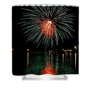Fireworks Of Green And Red Shower Curtain