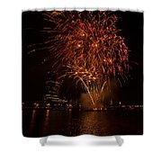 Fireworks On River Thames Shower Curtain