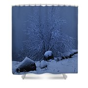 First Light First Snow II Shower Curtain