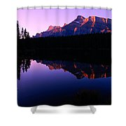 First Light On Mount Rundle Shower Curtain