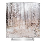 First Snow. Winter Mood Shower Curtain