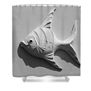 Fish And Shadow Face In Black And White Shower Curtain