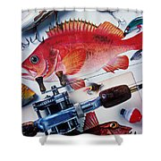Fish Bookplates And Tackle Shower Curtain by Garry Gay