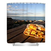 Fish 'n' Chips By The Beach Shower Curtain by Rob Hawkins
