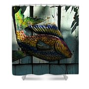 Fish On Fence Shower Curtain