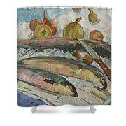 Fish Soup Shower Curtain by Juliya Zhukova
