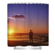 Fisherman At Sunset Shower Curtain