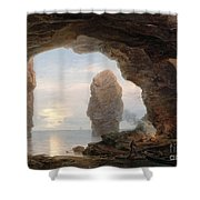 Fisherman In A Grotto Helgoland Shower Curtain by Christian Ernst Bernhard Morgenstern