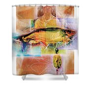 Fisherman With Fish Shower Curtain