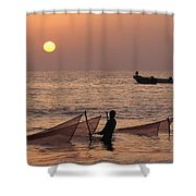 Fishermen Holding Nets In Sea At Sunset Shower Curtain