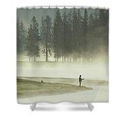 Fishermen In The Morning Mist Shower Curtain