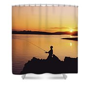 Fishing At Sunset, Roaring Water Bay Shower Curtain
