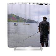 Fishing At The End Of The Pier Shower Curtain