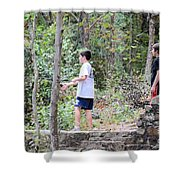 Fishing Beyond The Gristmill Shower Curtain