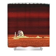 Fishing Boat By Sea Stacks Shower Curtain