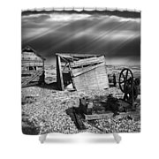 Fishing Boat Graveyard 4 Shower Curtain by Meirion Matthias