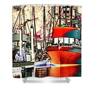 Fishing Boat In Harbor Shower Curtain