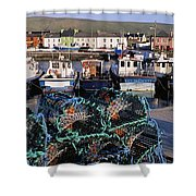 Fishing Boat Moored At A Harbor Shower Curtain
