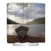 Fishing Boat Moored On Lough Nafooey Shower Curtain