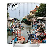 Fishing Boats Shower Curtain by Adrian Evans