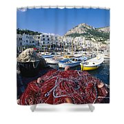 Fishing Boats And Nets In The Marina Shower Curtain