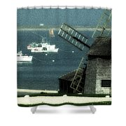 Fishing Boats And Windmill In Chatham On Cape Cod Massachusetts Shower Curtain by Matt Suess