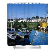 Fishing Boats At A Harbor, Roundstone Shower Curtain