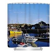 Fishing Boats At A Harbor, Slade Shower Curtain