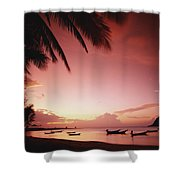 Fishing Boats At Sunset On Mae-haad Shower Curtain