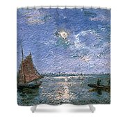 Fishing Boats By Moonlight Shower Curtain