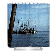 Fishing Boats In Harbor Shower Curtain