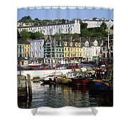 Fishing Boats Moored At A Harbor, Cobh Shower Curtain