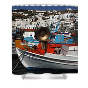 Fishing Boats Mykonos Shower Curtain