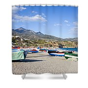 Fishing Boats On A Beach In Spain Shower Curtain