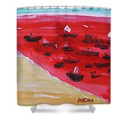 Fishing Boats On A Red Sea Shower Curtain