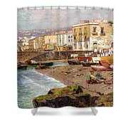 Fishing Boats On The Beach At Marinella Naples Shower Curtain