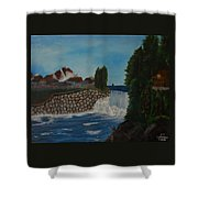 Fishing By The Falls Shower Curtain
