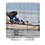 Fishing For Whales Shower Curtain