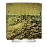 Fishing The Jetty - Island Beach State Park   Nj Shower Curtain