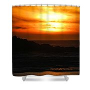 Fishing Vessel At Sunset Shower Curtain