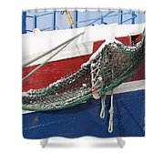 Fishing Vessel In Winter's Rest Shower Curtain