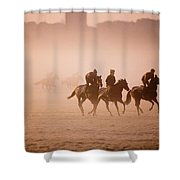 Five People Riding Thoroughbred Horses Shower Curtain