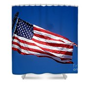 Flag On The Ladder Shower Curtain